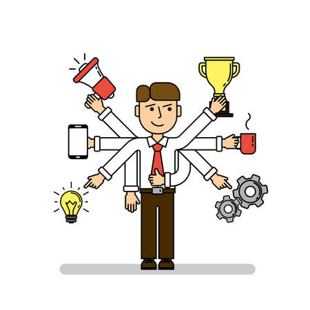 talented: Isolated multitasking businessman on white background. Talented funny man with six hands. Loudspeaker, idea, coffee and more.