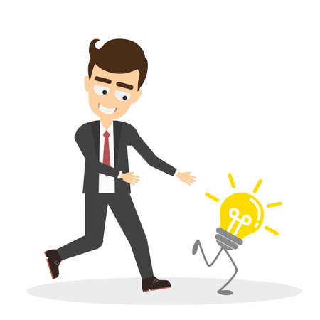 Man tries to chase idea light bulb. Concept of creativity, competition and innovation. Funny smiling handsome businessman.