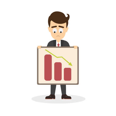 comparing: Businessman with statistics. Sad businessman holding boards and comparing data. Illustration