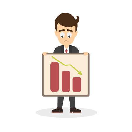 sad businessman: Businessman with statistics. Sad businessman holding boards and comparing data. Illustration