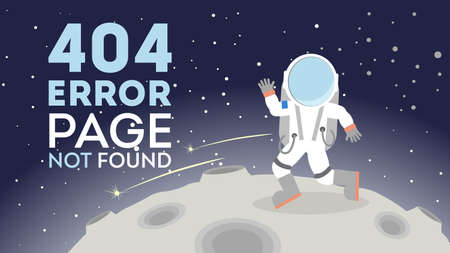 lost in space: 404 error page not found. Astronaut in outer space on the moon. Concept of zer service, lost connection.