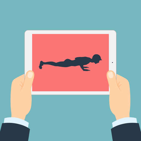 abs: Fitness app for tablet. Hands holding tablet. Abs and arms exercise. How to push-up.