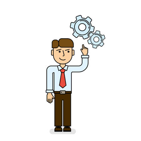 Isolated man with gear on white background. Problem solution concept. Hard working and thinking.