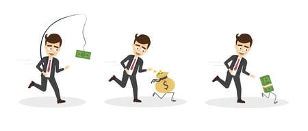 Money run set. Businessman tries to chase dollar, money bag and bundle of money. Concept of wealth, rat race and success. Illustration