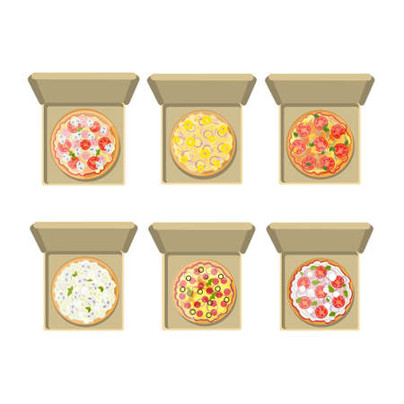 margherita: Isolated pizza set on white background. Different pizzas in cardboard boxes. Pepperoni, hawaii, european, margherita and more. Illustration