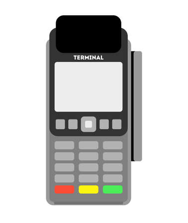 printed machine: Isolated pos terminal on white background. Payment terminal for credit cards. Shopping, purchase and banking.
