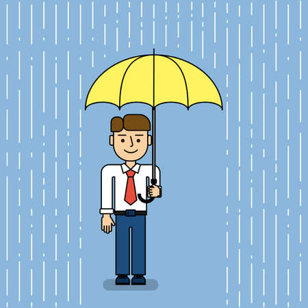 rains: Man under umbrella. Funny cartoon businessman stands under umbrella when it rains. Concept of security, protection and coverage.