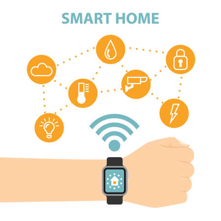 wireless: Smart home concept. Hands hold smart watches and control home system as energy, conditioning, temperature and more. Wireless system.