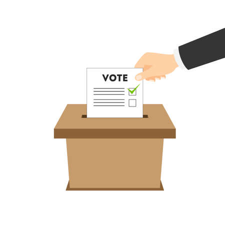 voting: Isolated ballot box with vote paper on white background. Concept of voting, ellection and balloting. Election campaign.