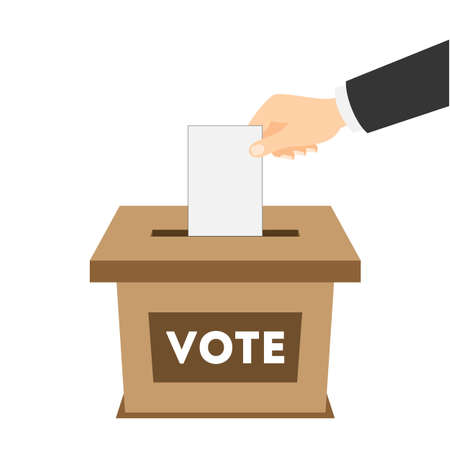 balloting: Isolated ballot box with vote paper on white background. Concept of voting, ellection and balloting. Election campaign.