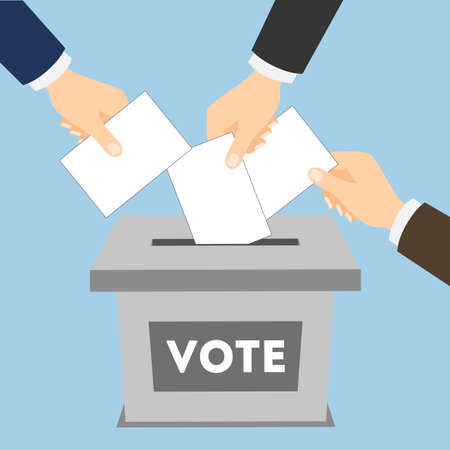 balloting: Isolated ballot box with vote paper on blue background. Concept of voting, ellection and balloting. Election campaign. Illustration