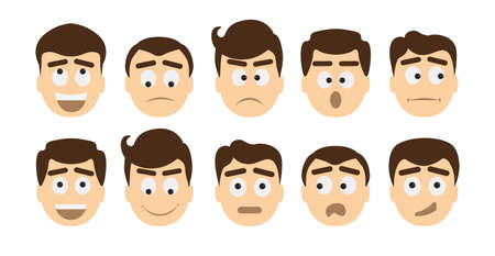 moods: Man emoji set on white background. All kinds of emotions as laugh, sad, anger, cheerful and other moods. Illustration