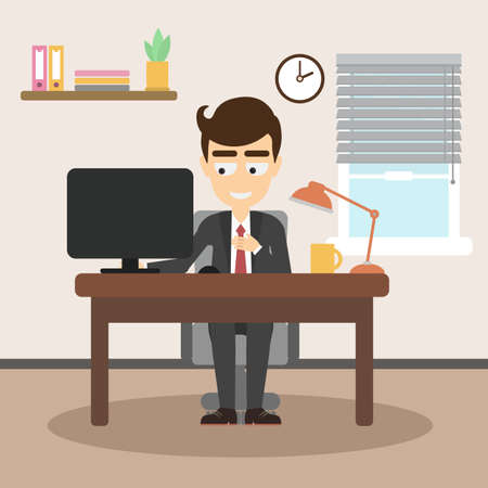 Businessman on workplace. Happy smiling office worker sitting in the office. Laptop, lamp and coffee cup on the table. Simple office interior.