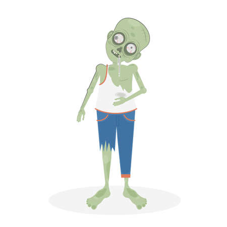 Isolated scary zombie. Green zombie with spit. Scary reanimated monster for halloween decoration.