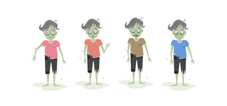 ghoulish: Isolated scary zombie set. Green zombie with bone. Scary reanimated monster for halloween decoration. Different t shirts.