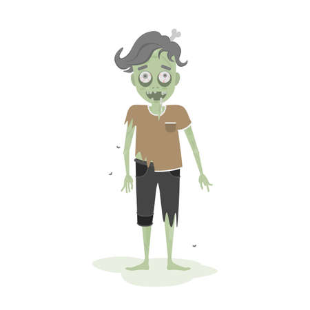 Isolated scary zombie. Green zombie with bone. Scary reanimated monster for halloween decoration.