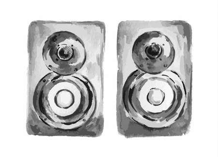 Isolated watercolor loudspeaker enclosure on white background. Acoustic system or music column. Illustration