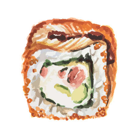 nori: Isolated watercolor sushi roll on white background. Traditional asian food with caviar, rice and fish.