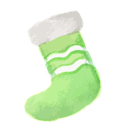 sock: Isolated watercolor sock. Sock for Christmas and New Year. Bright colorful piece of clothes.