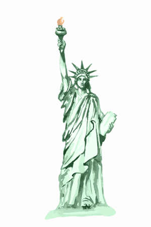 Isolated Watercolor Statue Of Liberty On White Background Symbol
