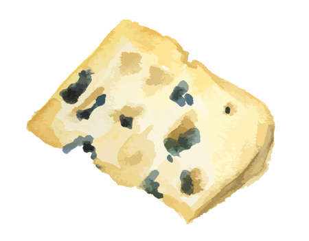 Isolated watercolor blue cheese on white background. Delicious and fresh organic gourmet food.