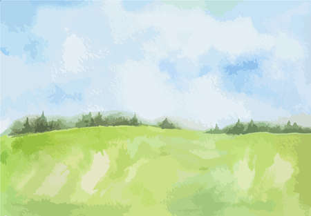 Watercolor rural landscape. Beautiful green field and blue sky. Summer village or farm.  イラスト・ベクター素材