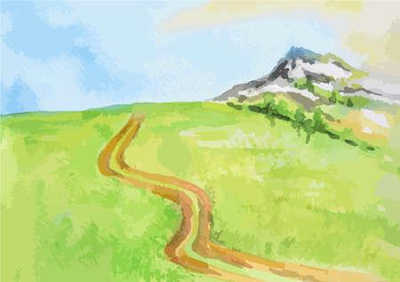 landscape road: Watercolor rural landscape. Beautiful green field, blue sky and road. Summer village or farm.