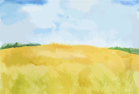 english countryside: Watercolor autumn landscape. Blue sky with yellow fields. Beautiful country landscape. Illustration