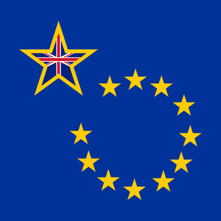 withdraw: Brexit concept banner. British exit. England intends to withdraw from the European Union. Blue background with european golden stars and one big british star.