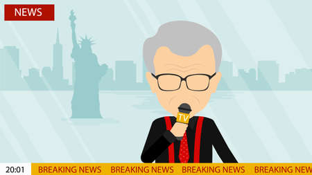 newsreader: Breaking news on tv. Male news reporter with microphone sitting at the table. Latest information. Tv screen with headline.