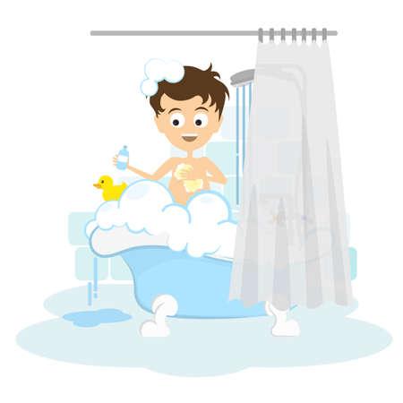 L'homme prend une douche. Heureux l'homme de dessin animé sourire dans le tube avec de la mousse, des bulles et le canard jaune.