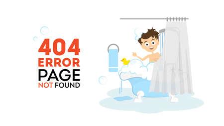 bath tub: Oops, page not found concept. Funny cartoon man in the bathroom washing in the bath tub. 404 error. Illustration