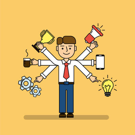 Isolated multitasking businessman. Talented funny man with six hands. Loudspeaker, idea, coffee, golden cup, gear and smartphone. Illustration