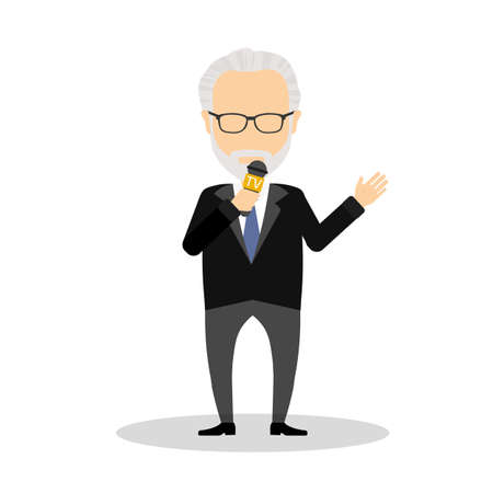 Isolated tv presenter on white background. Journalist or reporter on television or radio.