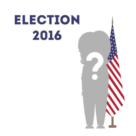 primaries: Who wins in USA. Presidential election in united states. One silhouette with question mark against the american flag.