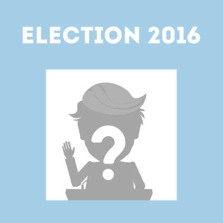 Who wins in USA. Presidential election in united states. One silhouette with question mark.