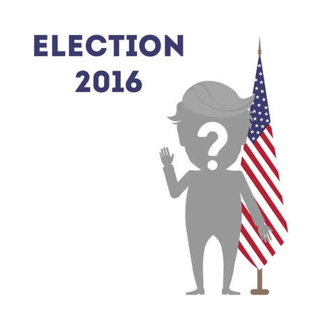 who: Who wins in USA. Presidential election in united states. One silhouette with question mark against the american flag.