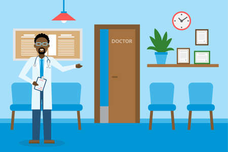 Doctor in waiting room. Handsome smiling african american man in white standing in waiting room. Hospital interior with chairs and health care information.
