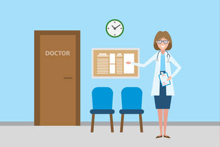 Doctor in waiting room. Beautiful smiling woman in white standing in waiting room. Hospital interior with chairs and health care information. Vector Illustration