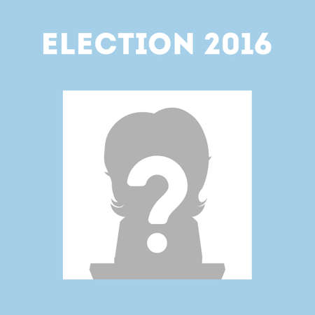 who: Who wins in USA. Presidential election in united states. One silhouette with question mark.