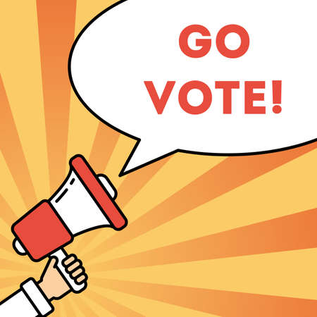 local elections: Go vote concept. Hand with megaphone on bright striped background with speech bubble. Presidential campaign.
