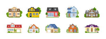 suburban: Isolated cartoon houses set. Simple suburban houses. Concept of real estate, property and ownership.