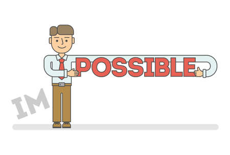 possible: Funny flat line cartoon businessman with impossible - possible title. concept of success business, solution, confidence, hope