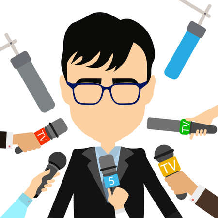 press conference: Press conference concept. Isolated politician or businessman gives interview. Hands with microphones. Live broadcasting.