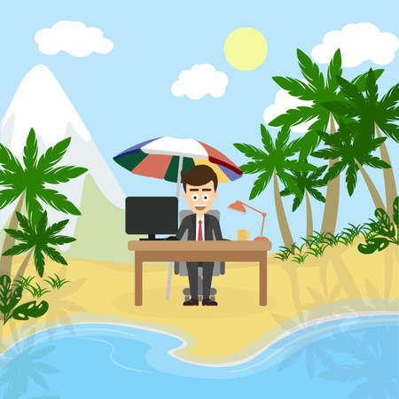 Working and relaxing. Businessman sitting in a lotus pose and meditate imagining sunny beach, palms and ocean. Concept of relaxation in office. Illustration