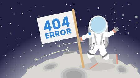 zero gravity: 404 error page not found. Astronaut in outer space on the moon. Concept of zer service, lost connection.