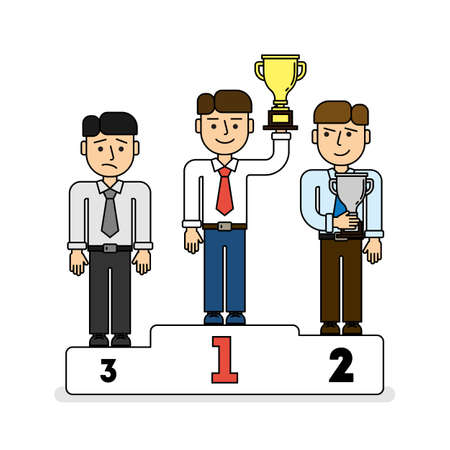 contestant: Three men on pedestal. Three places. Leader with golden cup, secon place with silver cup. Sad third contestant. Illustration