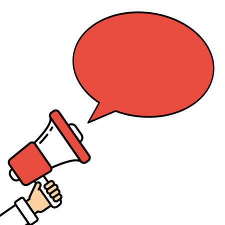 local elections: Go vote concept. Hand with megaphone on white background with red speech bubble. Presidential campaign. Illustration