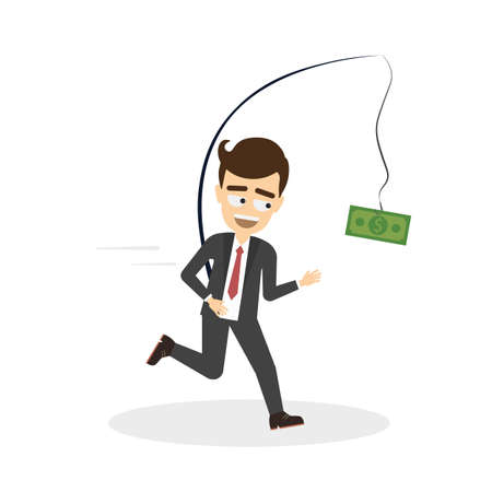 stressed businessman: Stressed businessman running after money. Smiling greedy man in suit running after money with fishing pole and green dollar.