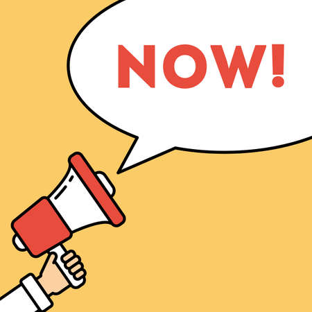 responsibility survey: Go now concept. Hand with megaphone on bright striped background with speech bubble. Presidential campaign. Illustration